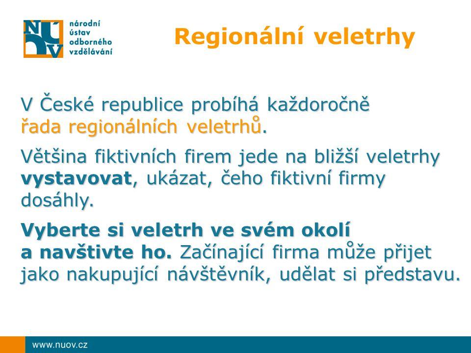 Regionální veletrhy V České republice probíhá každoročně řada regionálních veletrhů. Většina fiktivních firem jede na bližší veletrhy vystavovat, ukáz