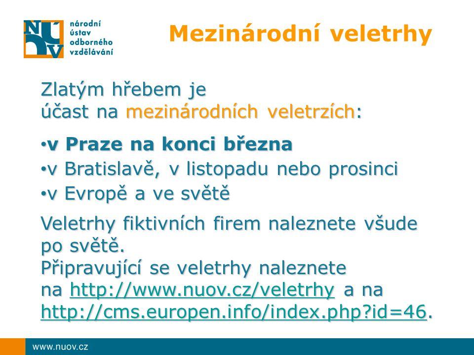 Mezinárodní veletrhy Zlatým hřebem je účast na mezinárodních veletrzích: v Praze na konci března v Praze na konci března v Bratislavě, v listopadu neb