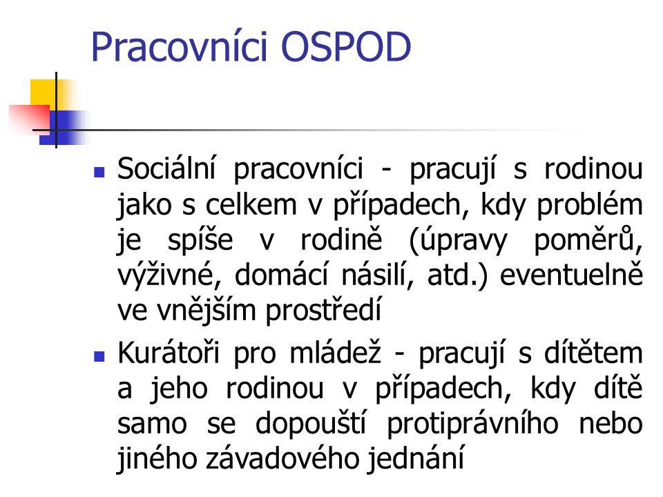 Pracovníci OSPOD Sociální pracovníci - pracují s rodinou jako s celkem v případech, kdy problém je spíše v rodině (úpravy poměrů, výživné, domácí nási