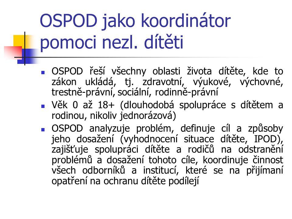 OSPOD jako koordinátor pomoci nezl. dítěti OSPOD řeší všechny oblasti života dítěte, kde to zákon ukládá, tj. zdravotní, výukové, výchovné, trestně-pr