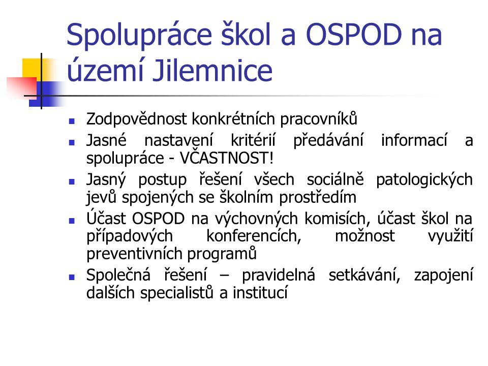 Spolupráce škol a OSPOD na území Jilemnice Zodpovědnost konkrétních pracovníků Jasné nastavení kritérií předávání informací a spolupráce - VČASTNOST!