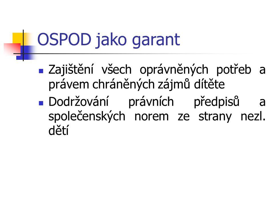 OSPOD jako garant Zajištění všech oprávněných potřeb a právem chráněných zájmů dítěte Dodržování právních předpisů a společenských norem ze strany nez