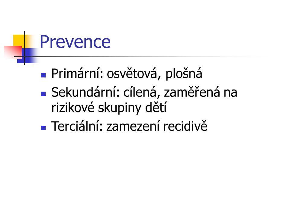 Prevence Primární: osvětová, plošná Sekundární: cílená, zaměřená na rizikové skupiny dětí Terciální: zamezení recidivě