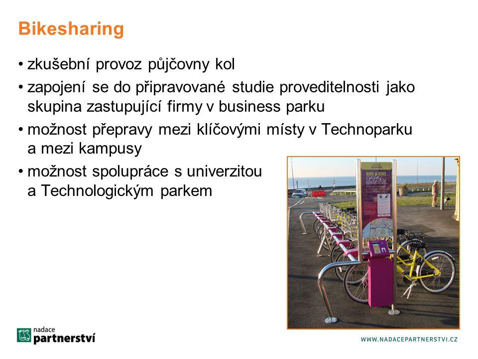 Bikesharing zkušební provoz půjčovny kol zapojení se do připravované studie proveditelnosti jako skupina zastupující firmy v business parku možnost přepravy mezi klíčovými místy v Technoparku a mezi kampusy možnost spolupráce s univerzitou a Technologickým parkem
