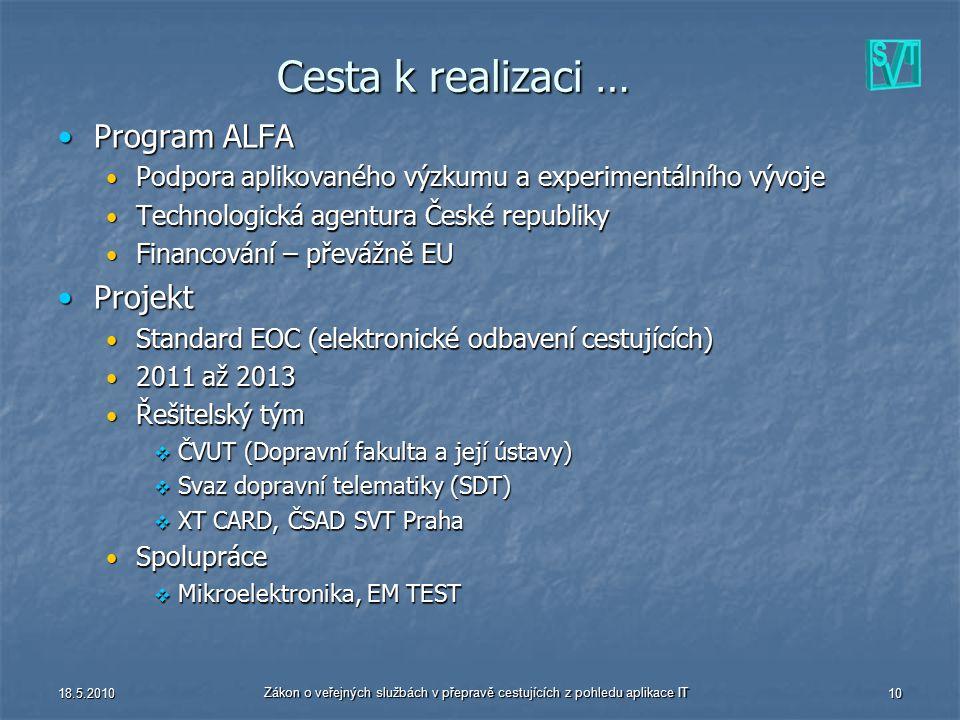 18.5.2010 Zákon o veřejných službách v přepravě cestujících z pohledu aplikace IT 10 Cesta k realizaci … Program ALFAProgram ALFA Podpora aplikovaného
