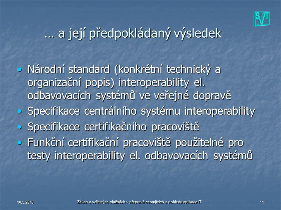 18.5.2010 Zákon o veřejných službách v přepravě cestujících z pohledu aplikace IT 11 … a její předpokládaný výsledek Národní standard (konkrétní techn