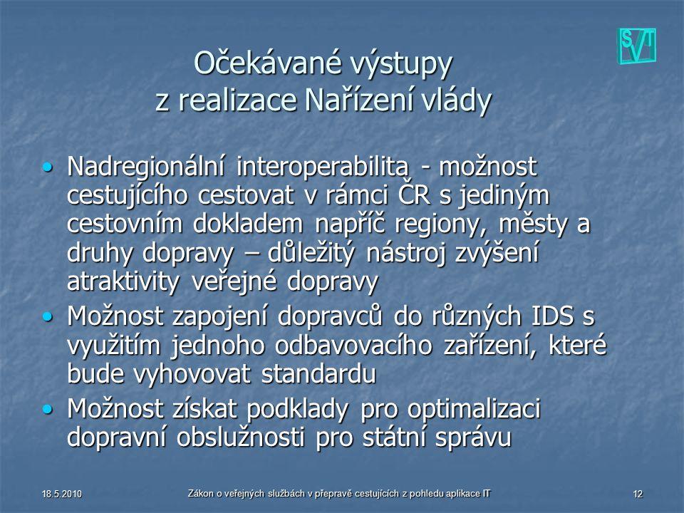18.5.2010 Zákon o veřejných službách v přepravě cestujících z pohledu aplikace IT 12 Očekávané výstupy z realizace Nařízení vlády Nadregionální intero