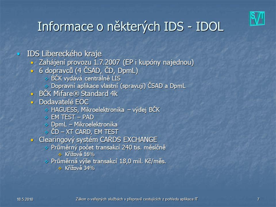 18.5.2010 Zákon o veřejných službách v přepravě cestujících z pohledu aplikace IT 7 Informace o některých IDS - IDOL IDS Libereckého krajeIDS Libereck