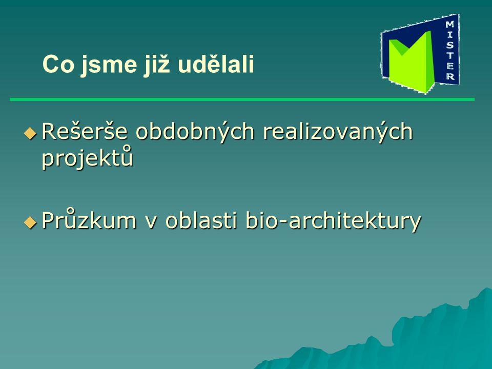 Co jsme již udělali  Rešerše obdobných realizovaných projektů  Průzkum v oblasti bio-architektury