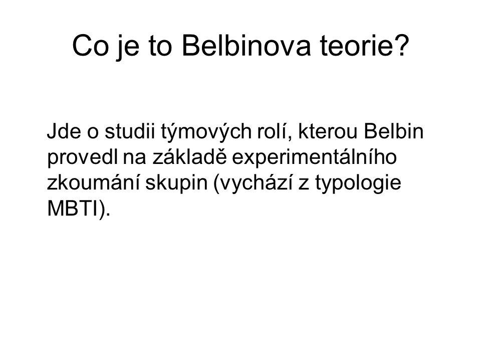 Co je to Belbinova teorie? Jde o studii týmových rolí, kterou Belbin provedl na základě experimentálního zkoumání skupin (vychází z typologie MBTI).