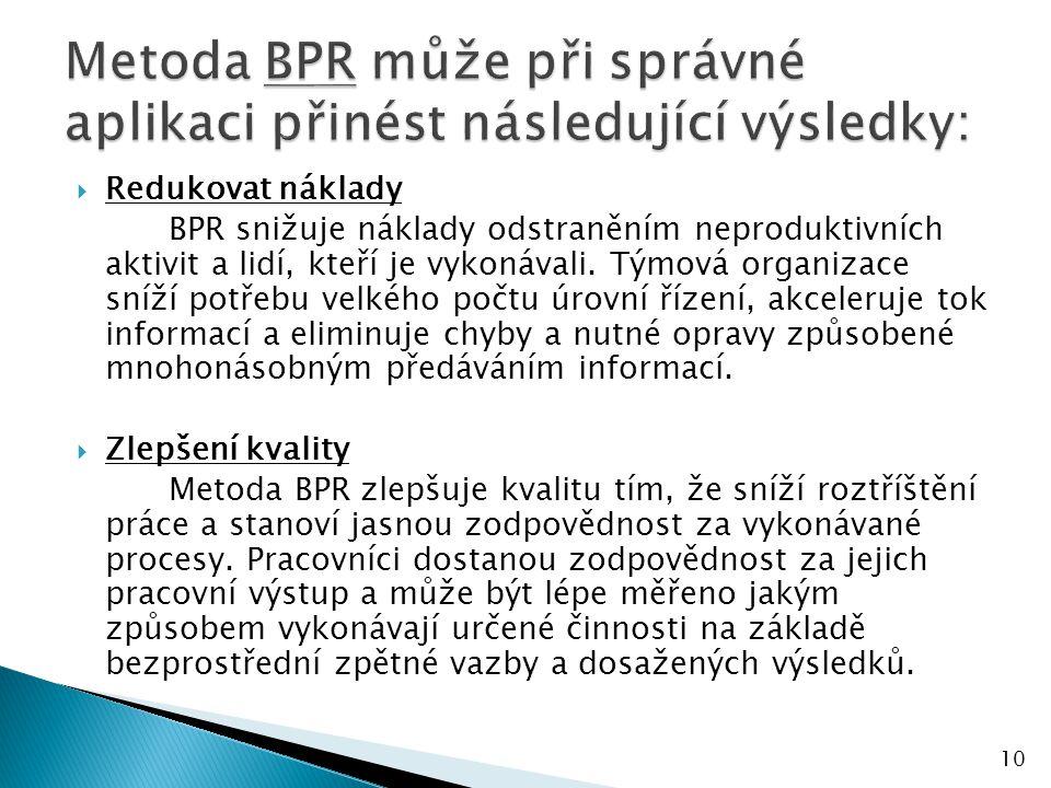  Redukovat náklady BPR snižuje náklady odstraněním neproduktivních aktivit a lidí, kteří je vykonávali.