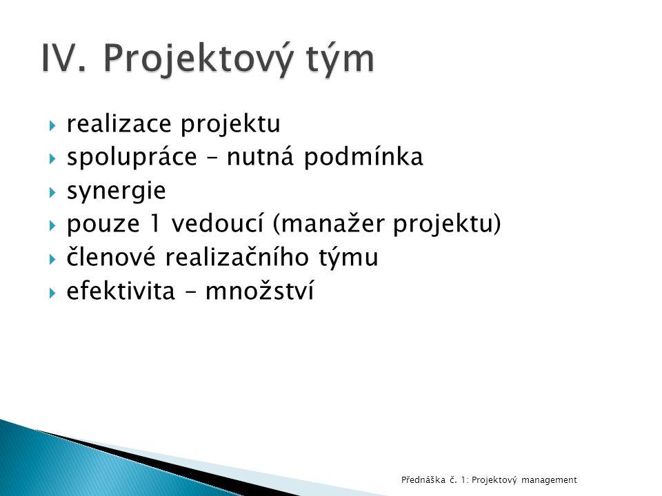  realizace projektu  spolupráce – nutná podmínka  synergie  pouze 1 vedoucí (manažer projektu)  členové realizačního týmu  efektivita – množství Přednáška č.