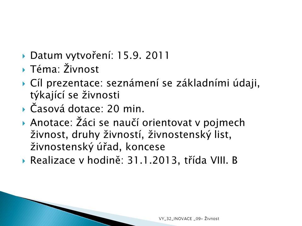  Datum vytvoření: 15.9. 2011  Téma: Živnost  Cíl prezentace: seznámení se základními údaji, týkající se živnosti  Časová dotace: 20 min.  Anotace