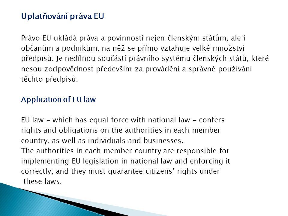 Právní předpisy EU zahrnují:  smlouvy o založení Evropské unie a o jejím fungování  nařízení, směrnice a rozhodnutí EU, které mají přímý nebo nepřímý dopad na členské státy EU EU legislation takes the form of:  Treaties establishing the European Union and governing the way it works  EU regulations, directives and decisions - with a direct or indirect effect on EU member states.