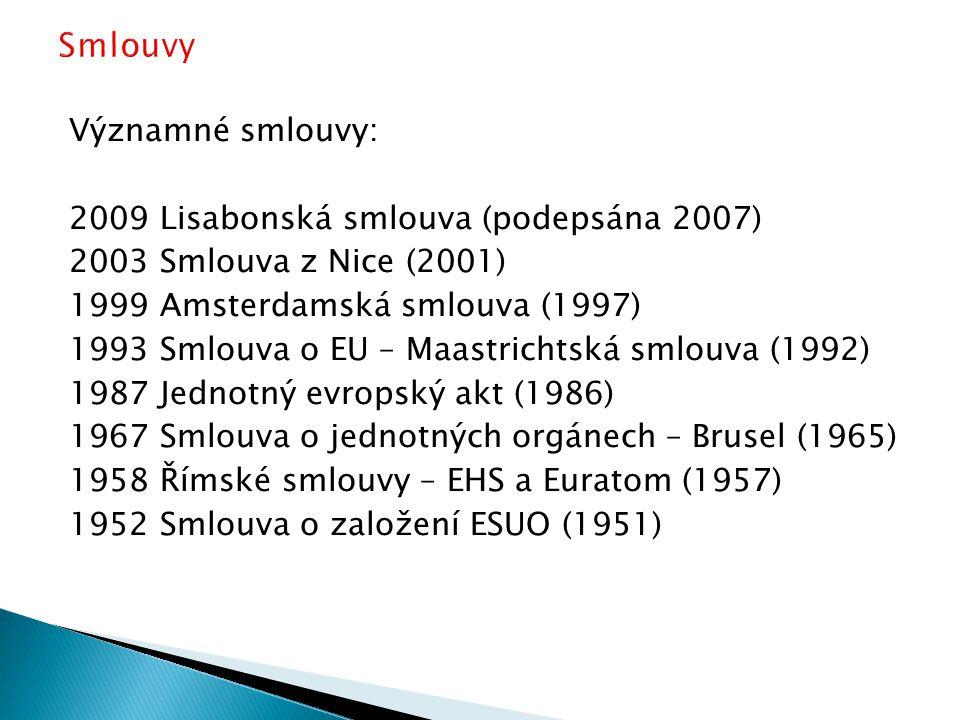 Významné smlouvy: 2009 Lisabonská smlouva (podepsána 2007) 2003 Smlouva z Nice (2001) 1999 Amsterdamská smlouva (1997) 1993 Smlouva o EU – Maastrichtská smlouva (1992) 1987 Jednotný evropský akt (1986) 1967 Smlouva o jednotných orgánech – Brusel (1965) 1958 Římské smlouvy – EHS a Euratom (1957) 1952 Smlouva o založení ESUO (1951)