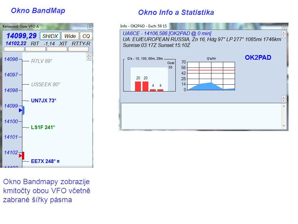 Okno BandMap Okno Info a Statistika Okno Bandmapy zobrazije kmitočty obou VFO včetně zabrané šířky pásma