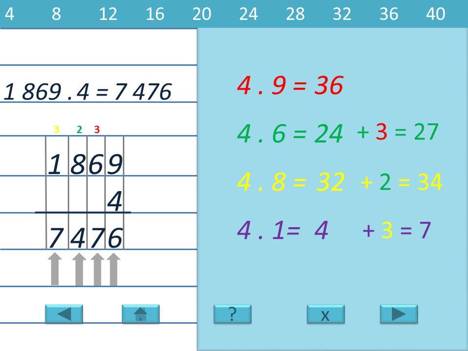 1 869.7 476 9 4 681 4. 9 =36 6 4. 6 =24 4. 8 =32 4. 1=4 747 4 = x x 481216202428323640 ? ? + 3 = 27 + 2 = 34 + 3 = 7 323