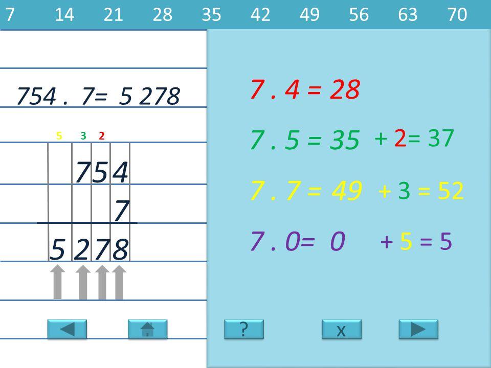 754.5 278 4 7 57 7. 4 =28 8 7. 5 =35 7. 7 =49 7. 0=0 725 7= x x 7142128354249566370 ? ? + 2= 37 + 3 = 52 + 5 = 5 235