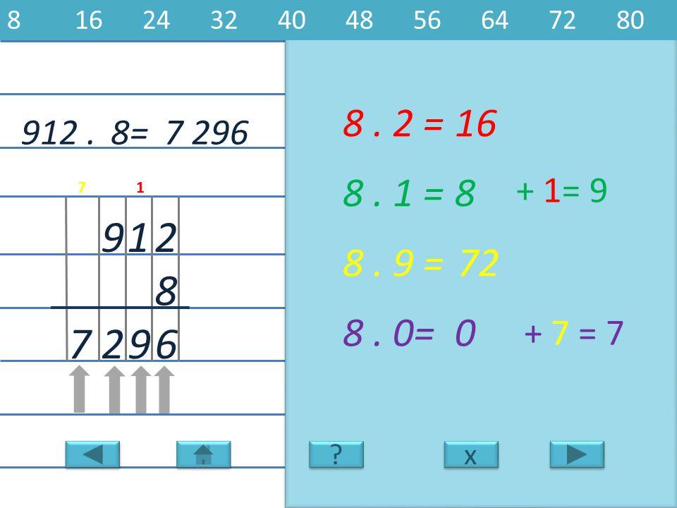 912.7 296 2 8 19 8. 2 =16 6 8. 1 =8 8. 9 =72 8. 0=0 927 8= x x 8162432404856647280 ? ? + 1= 9 + 7 = 7 17