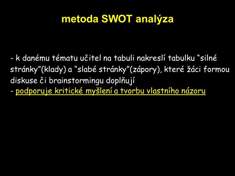 """metoda SWOT analýza - k danému tématu učitel na tabuli nakreslí tabulku """"silné stránky""""(klady) a """"slabé stránky""""(zápory), které žáci formou diskuse či"""