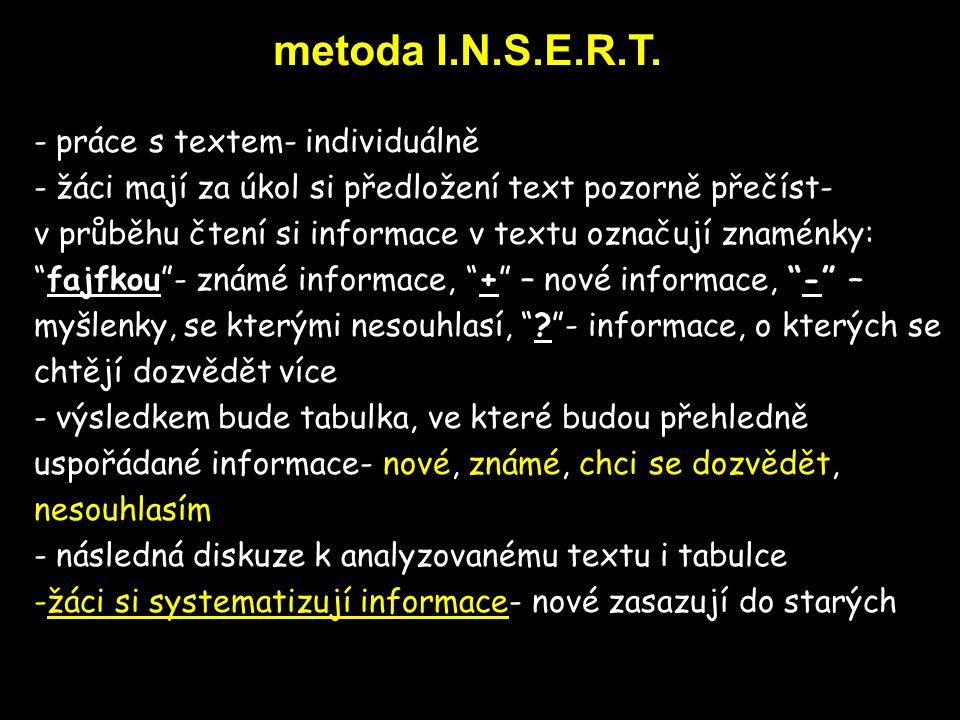 metoda ReQuest Procedure - práce s textem- ve dvojicích - dva žáci pročítají text a za každým odstavcem se zastaví a na přeskáčku kladou jeden druhému otázky vycházející z toho, co si v odstavci přečetli - kombinace s metodou Učíme se navzájem) - postupné seznamování s problémem
