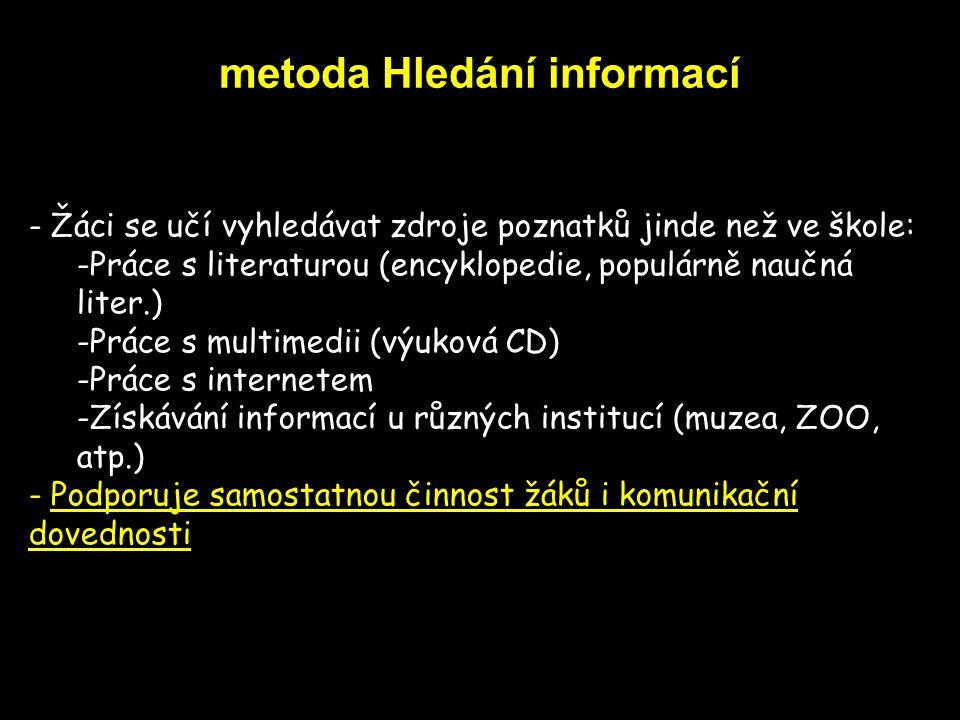 metoda Hledání informací - Žáci se učí vyhledávat zdroje poznatků jinde než ve škole: -Práce s literaturou (encyklopedie, populárně naučná liter.) -Pr