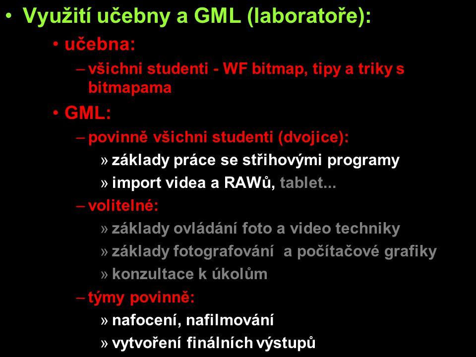 Využití učebny a GML (laboratoře): učebna: –všichni studenti - WF bitmap, tipy a triky s bitmapama GML: –povinně všichni studenti (dvojice): »základy práce se střihovými programy »import videa a RAWů, tablet...