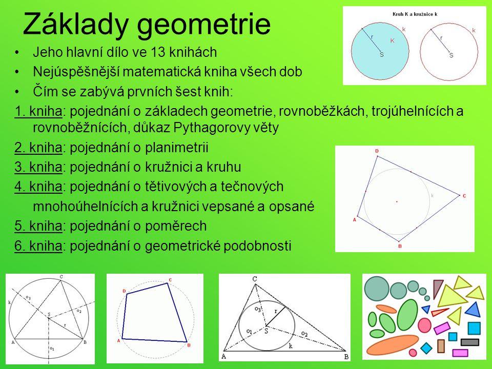 Základy geometrie Jeho hlavní dílo ve 13 knihách Nejúspěšnější matematická kniha všech dob Čím se zabývá prvních šest knih: 1. kniha: pojednání o zákl
