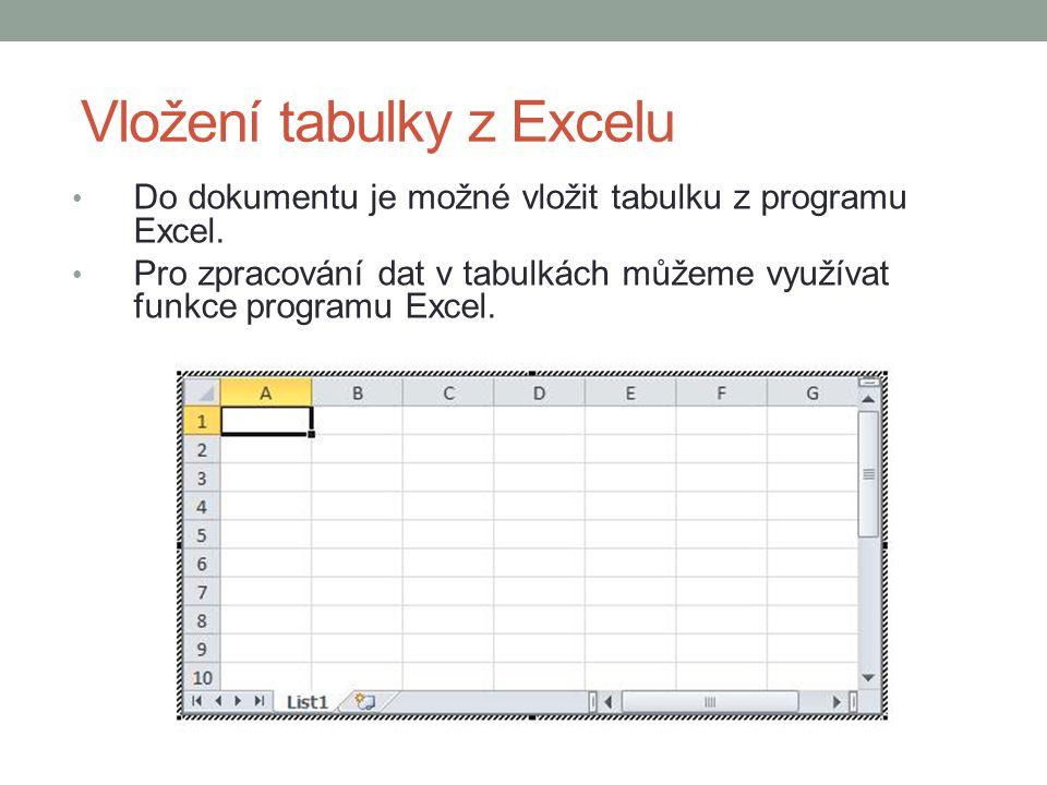 Vložení tabulky z Excelu Do dokumentu je možné vložit tabulku z programu Excel. Pro zpracování dat v tabulkách můžeme využívat funkce programu Excel.