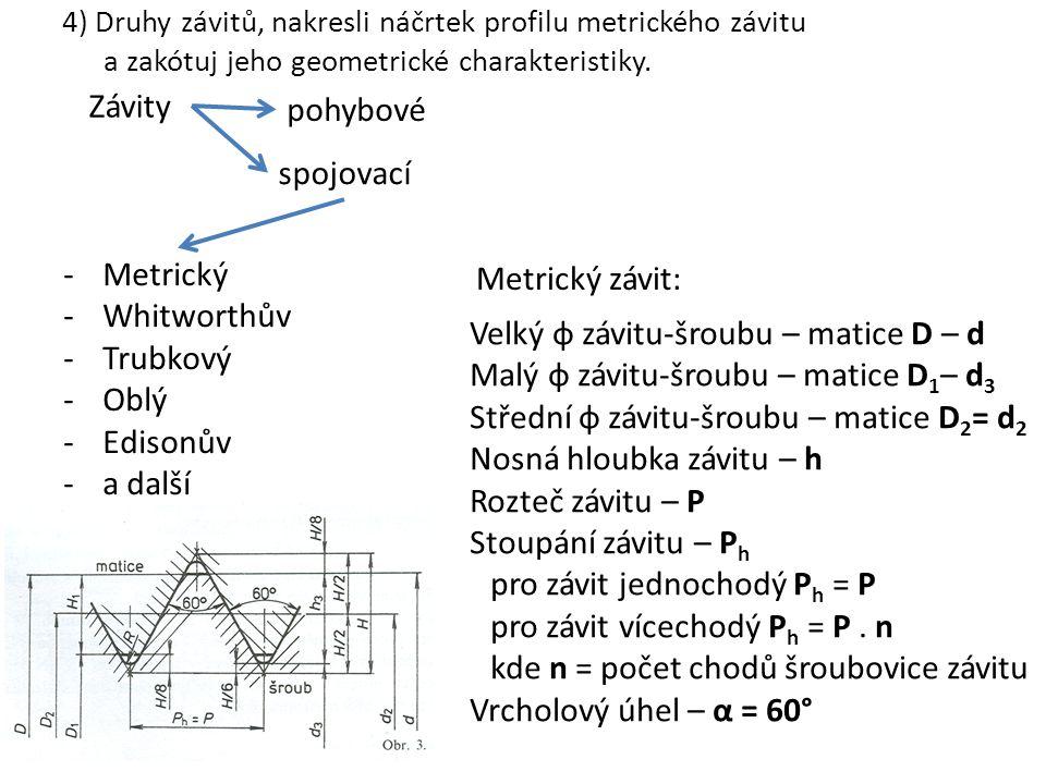 4) Druhy závitů, nakresli náčrtek profilu metrického závitu a zakótuj jeho geometrické charakteristiky. Závity pohybové spojovací -Metrický -Whitworth