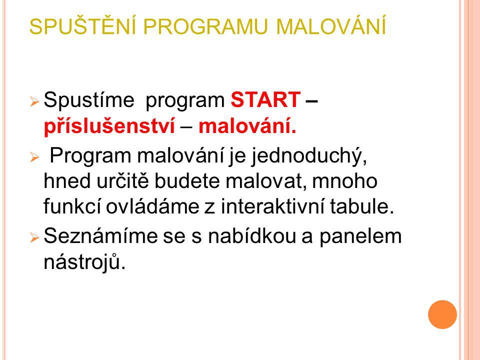 SPUŠTĚNÍ PROGRAMU MALOVÁNÍ  Spustíme program START – příslušenství – malování.