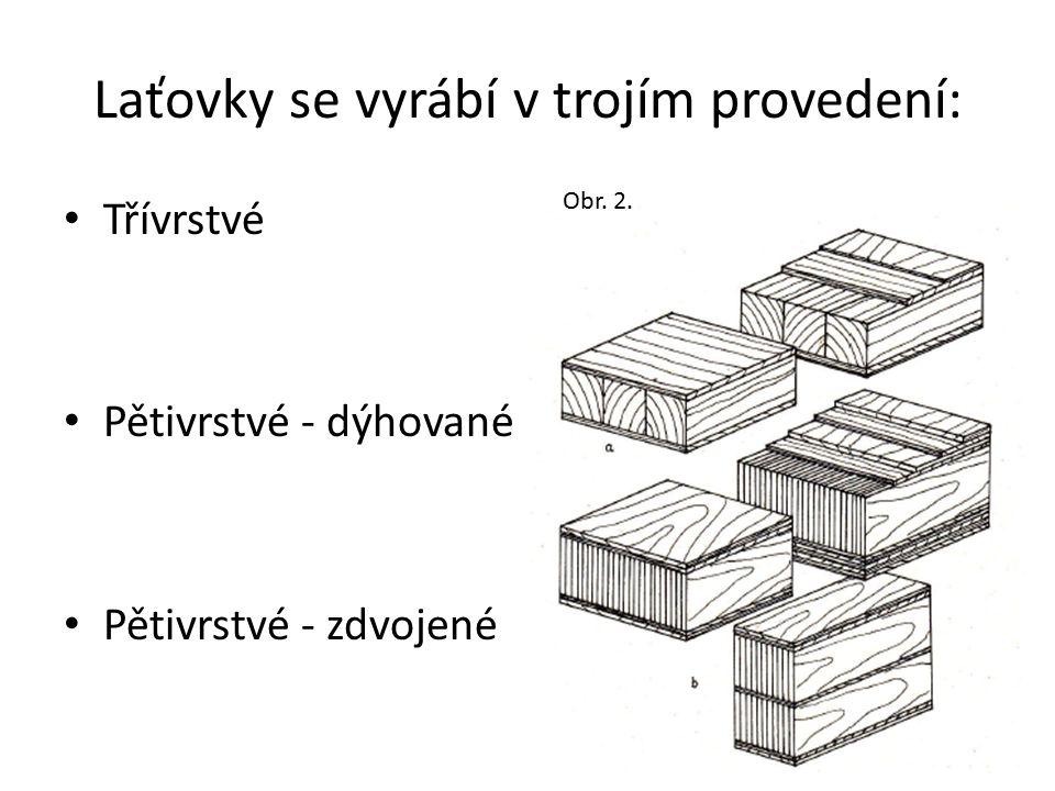 Laťovky se vyrábí v trojím provedení: Třívrstvé Pětivrstvé - dýhované Pětivrstvé - zdvojené Obr. 2.