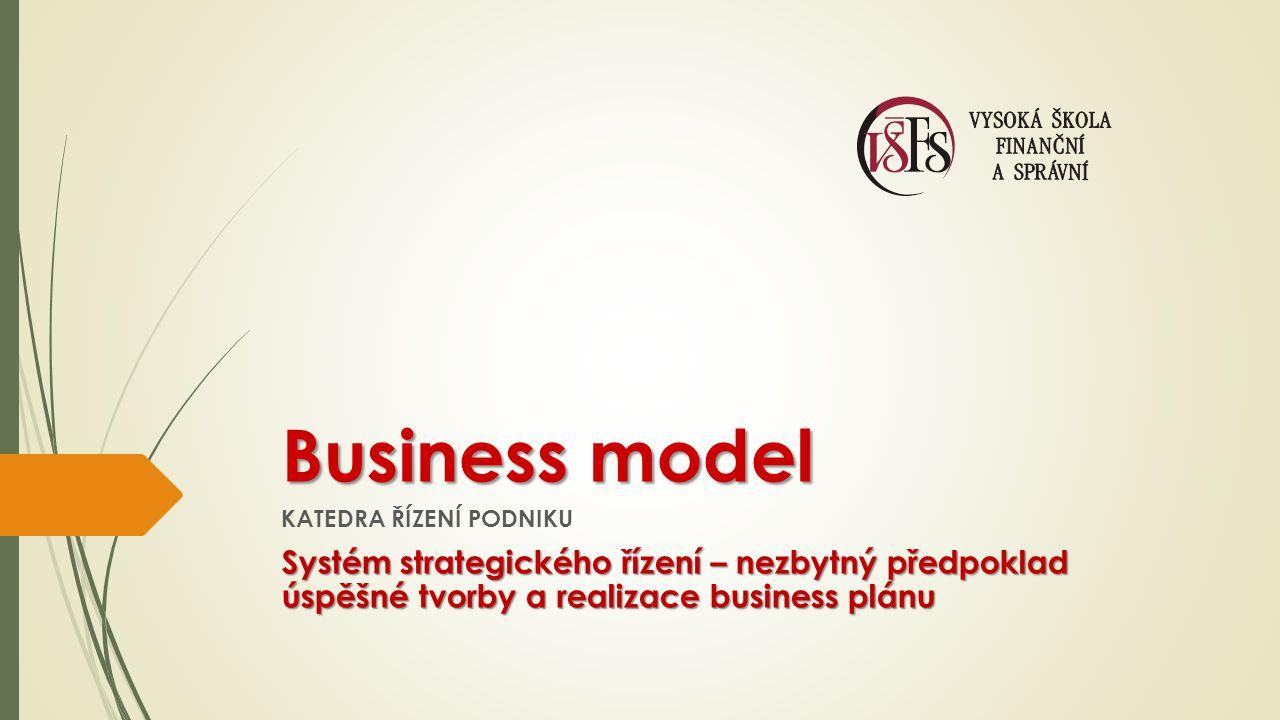 Business model KATEDRA ŘÍZENÍ PODNIKU Systém strategického řízení – nezbytný předpoklad úspěšné tvorby a realizace business plánu