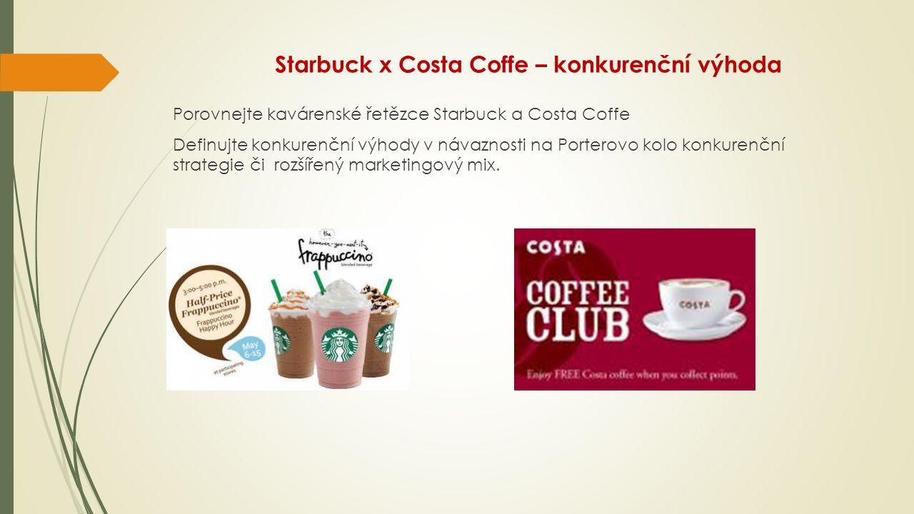Starbuck x Costa Coffe – konkurenční výhoda Porovnejte kavárenské řetězce Starbuck a Costa Coffe Definujte konkurenční výhody v návaznosti na Porterov