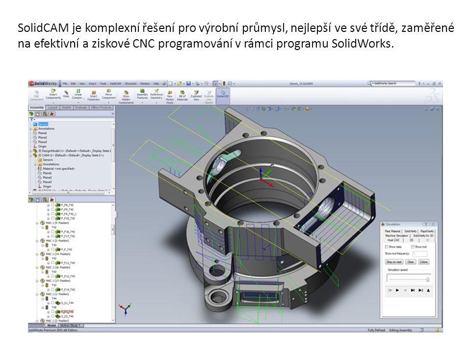 SolidCAM je komplexní řešení pro výrobní průmysl, nejlepší ve své třídě, zaměřené na efektivní a ziskové CNC programování v rámci programu SolidWorks.