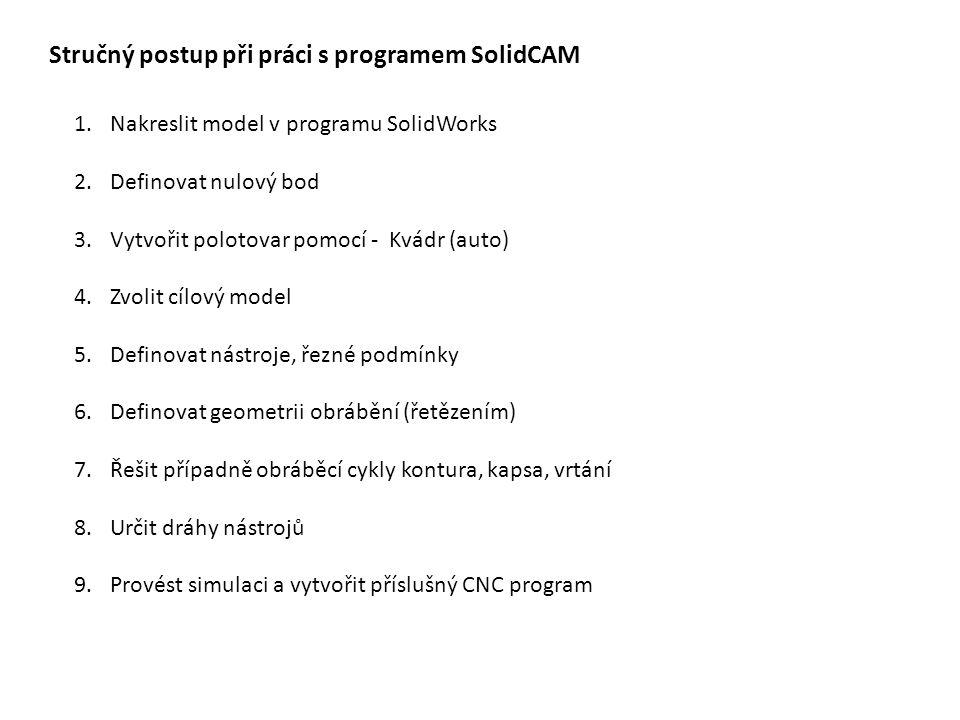 Stručný postup při práci s programem SolidCAM 1.Nakreslit model v programu SolidWorks 2.Definovat nulový bod 3.Vytvořit polotovar pomocí - Kvádr (auto