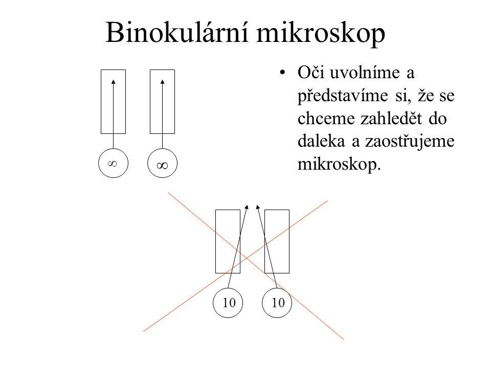 Binokulární mikroskop Oči uvolníme a představíme si, že se chceme zahledět do daleka a zaostřujeme mikroskop. ∞ ∞ 10
