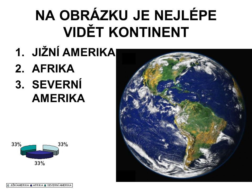 NA OBRÁZKU JE NEJLÉPE VIDĚT KONTINENT 1.JIŽNÍ AMERIKA 2.AFRIKA 3.SEVERNÍ AMERIKA