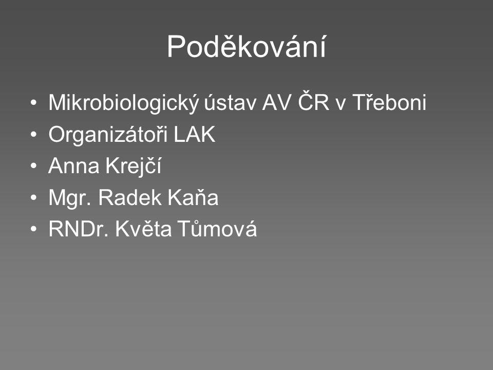 Poděkování Mikrobiologický ústav AV ČR v Třeboni Organizátoři LAK Anna Krejčí Mgr. Radek Kaňa RNDr. Květa Tůmová