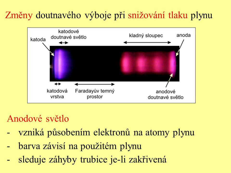 Změny doutnavého výboje při snižování tlaku plynu Anodové světlo -vzniká působením elektronů na atomy plynu -barva závisí na použitém plynu -sleduje záhyby trubice je-li zakřivená