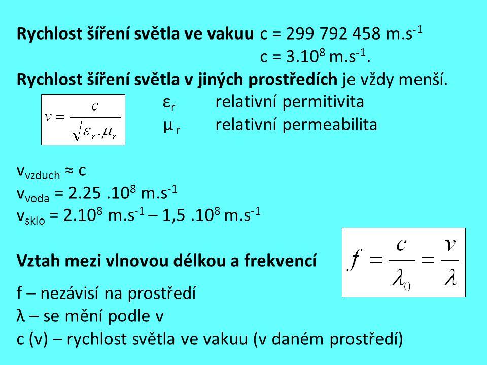 Rychlost šíření světla ve vakuu c = 299 792 458 m.s -1 c = 3.10 8 m.s -1. Rychlost šíření světla v jiných prostředích je vždy menší. ε r relativní per