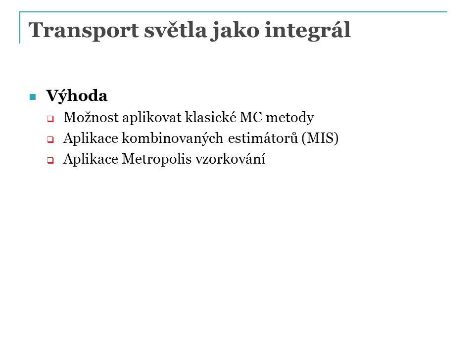 Transport světla jako integrál Výhoda  Možnost aplikovat klasické MC metody  Aplikace kombinovaných estimátorů (MIS)  Aplikace Metropolis vzorkování