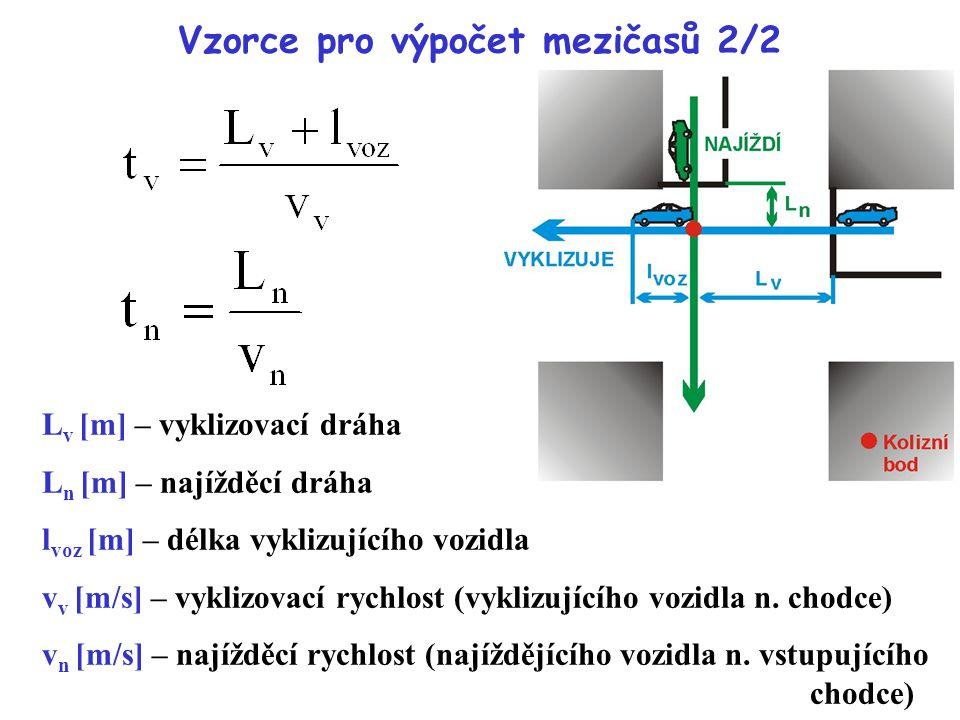 Vzorce pro výpočet mezičasů 2/2 L v [m] – vyklizovací dráha L n [m] – najížděcí dráha l voz [m] – délka vyklizujícího vozidla v v [m/s] – vyklizovací