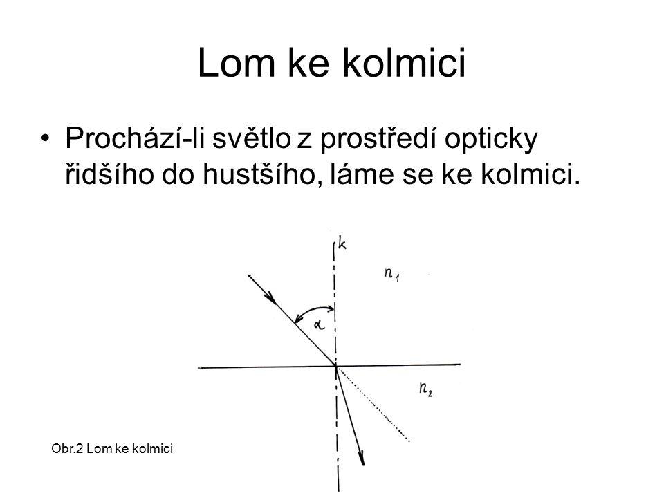 Lom ke kolmici Prochází-li světlo z prostředí opticky řidšího do hustšího, láme se ke kolmici. Obr.2 Lom ke kolmici