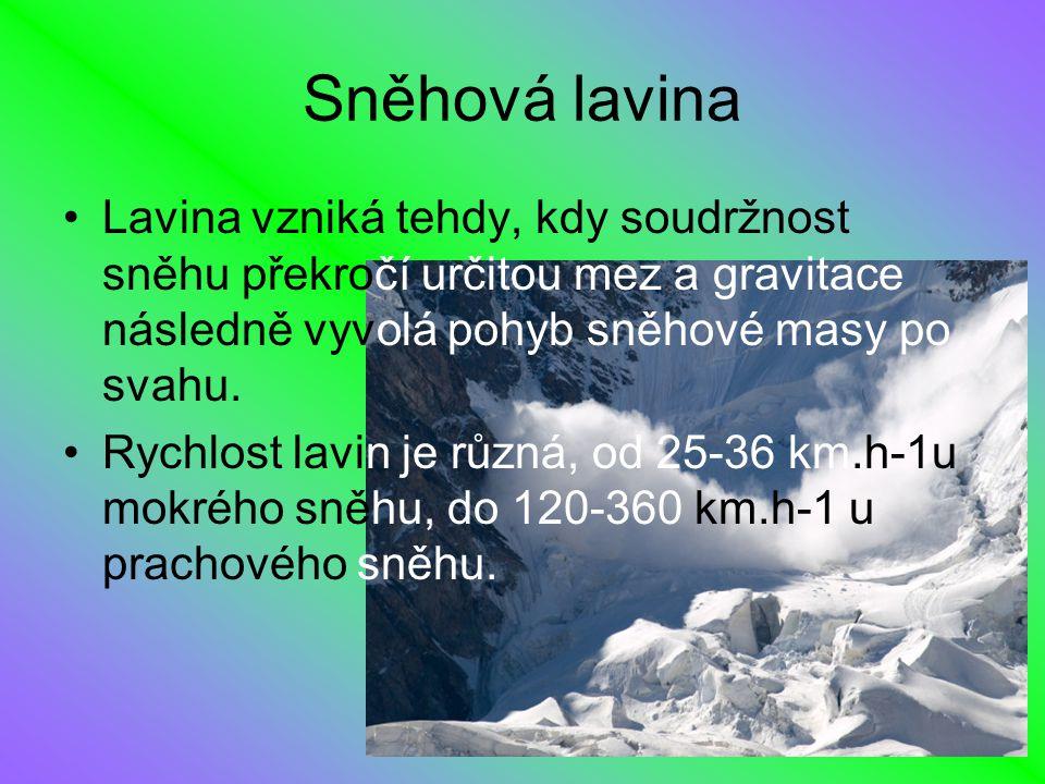 Sněhová lavina Lavina vzniká tehdy, kdy soudržnost sněhu překročí určitou mez a gravitace následně vyvolá pohyb sněhové masy po svahu. Rychlost lavin