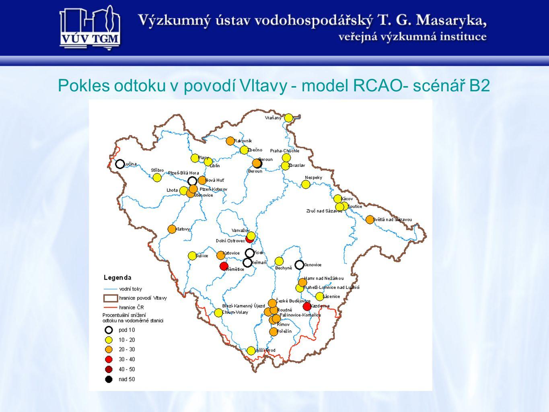 Pokles odtoku v povodí Vltavy - model RCAO- scénář B2