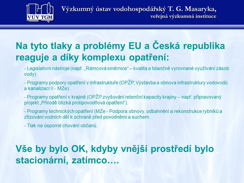 """Na tyto tlaky a problémy EU a Česká republika reaguje a díky komplexu opatření: - Legislativní nástroje (např. """"Rámcová směrnice"""" – kvalita a bilančně"""