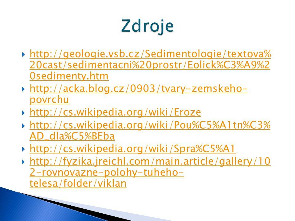  http://geologie.vsb.cz/Sedimentologie/textova% 20cast/sedimentacni%20prostr/Eolick%C3%A9%2 0sedimenty.htm http://geologie.vsb.cz/Sedimentologie/text