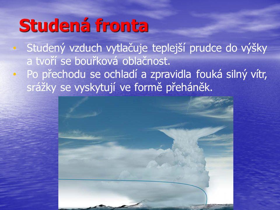 ATMOSFÉRICKÉ FRONTY Značení atmosférických front: 1.