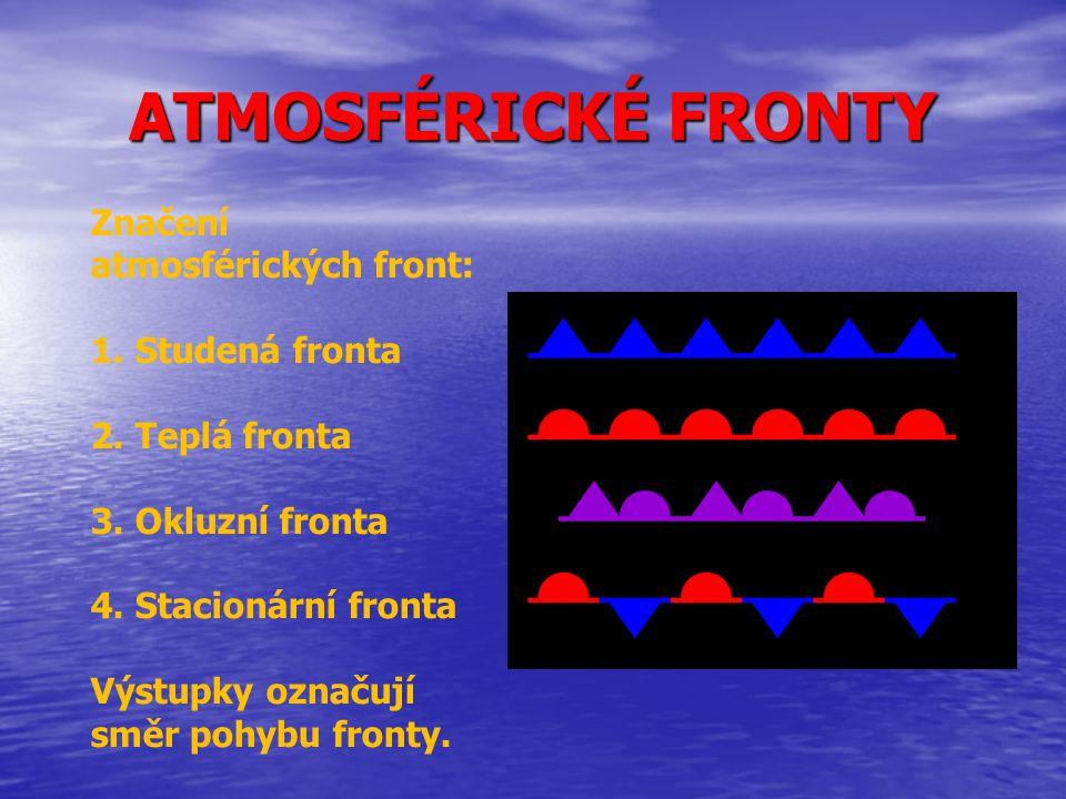 ATMOSFÉRICKÉ FRONTY Značení atmosférických front: 1. Studená fronta 2. Teplá fronta 3. Okluzní fronta 4. Stacionární fronta Výstupky označují směr poh